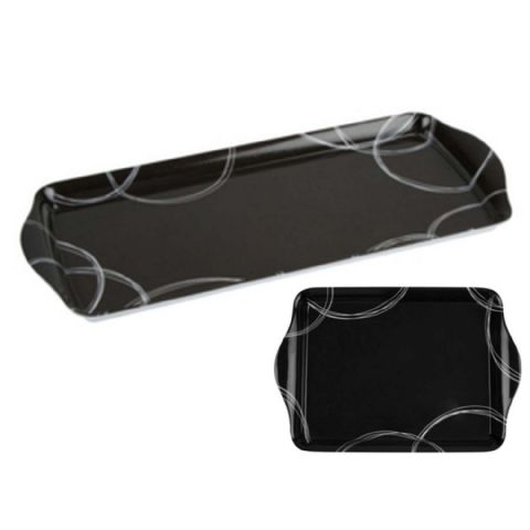 Black Snack Drinks Tea Coffee Biscuits Serving Tray Set